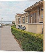 Il Fornaio Italian Restaurant In Coronado California Overlooking The San Diego Coronado Bridge 5d243 Wood Print by Wingsdomain Art and Photography