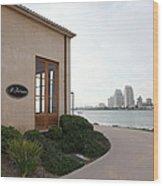 Il Fornaio Italian Restaurant In Coronado California Overlooking The San Diego Skyline 5d24364 Wood Print