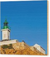 Ile Rousse Lighthouse In Corsica Wood Print