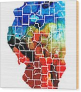 Illinois - Map Counties By Sharon Cummings Wood Print
