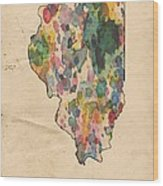 Illinois Map Vintage Watercolor Wood Print