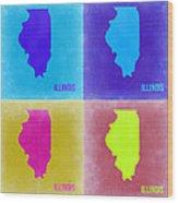 Illinois Pop Art Map 2 Wood Print