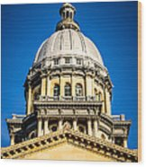 Illinois State Capitol Dome In Springfield Illinois Wood Print