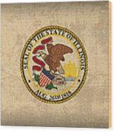 Illinois State Flag Art On Worn Canvas Wood Print