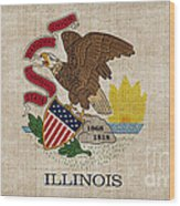 Illinois State Flag Wood Print by Pixel Chimp