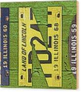 Illinois State Name License Plate Art Wood Print