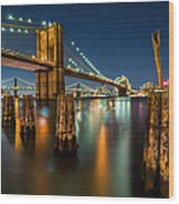 Illuminated Brooklyn Bridge By Night Wood Print