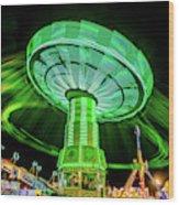 Illuminated Fair Ride With Blurred Neon Wood Print