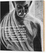 Illuminated Gandhi Wood Print by Naresh Sukhu