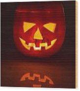 Illuminated Halloween Pumpkin Wood Print