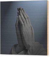 Illuminated Praying Hands Wood Print