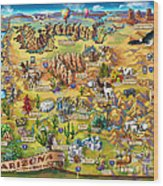 Illustrated Map Of Arizona Wood Print
