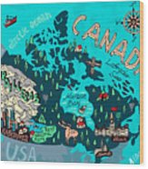 Illustrated Map Of Canada. Travel Wood Print