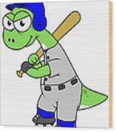 Illustration Of A Brontosaurus Baseball Wood Print