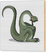 Illustration Of A Brontosaurus Thinking Wood Print