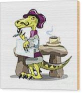 Illustration Of A Raptor Poet Thinking Wood Print