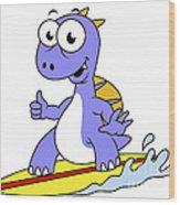 Illustration Of A Surfing Spinosaurus Wood Print