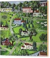 Illustration Of A Village Wood Print