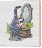 Illustration Of An Iguanodon Putting Wood Print