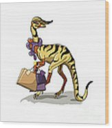 Illustration Of An Iguanodon Wood Print