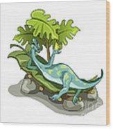Illustration Of An Iguanodon Sunbathing Wood Print