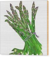 Illustration Of Asparagus Wood Print
