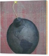 Illustration Of Globe Lit Up As A Bomb Wood Print