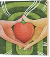 Illustration Of Hands With Heart Wood Print