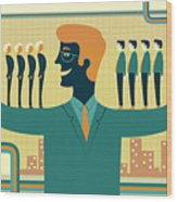 Illustration Of Leader Carrying Business People On His Arms Wood Print