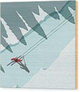 Illustration Of Man Skiing During Wood Print