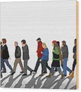 Illustration Of People Walking On Wood Print