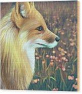 Illustration Of Red Fox Wood Print