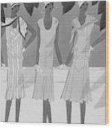 Illustration Of Three Women Wood Print