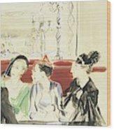 Illustration Of Three Women Wearing Designer Hats Wood Print