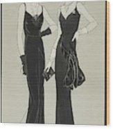 Illustration Of Two Women Wearing Mainbocher Wood Print