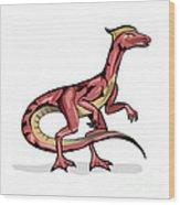 Illustration Of Velociraptor Wood Print