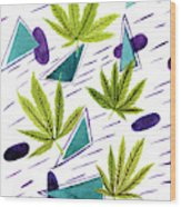 Illustrations Of The Cannabis Leaf Wood Print
