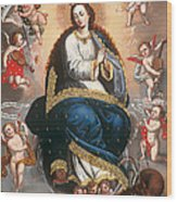 Immaculate Virgin Victorious Over The Serpent Of Heresy Wood Print