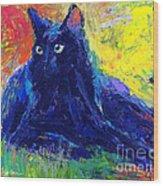 Impasto Black Cat Painting Wood Print