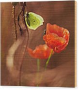 Impression With Red Poppies Wood Print