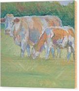 Impressionist Cow Calf Painting Wood Print