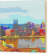 Impressionist Pittsburgh Across The River 2 Wood Print
