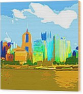 Impressionist Pittsburgh From The North Side Wood Print