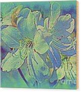 Impressionistic Blue Blossoms Wood Print