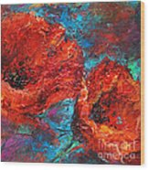 Impressionistic Red Poppies Wood Print