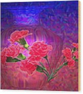 Impressions Of Pink Carnations Wood Print by Joyce Dickens
