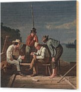 In A Quandary, Or Mississippi Raftsmen Wood Print