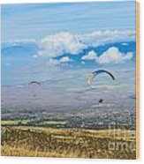 In Flight - Paragliders Taking Off High Over Maui. Wood Print