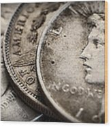 In God We Trust_silver Dollars Wood Print