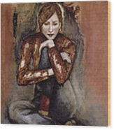 In Her World, 2005 Pen & Ink With Oil On Paper Wood Print